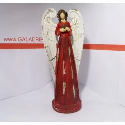 Anděl v červené róbě se srdcem 30 cm