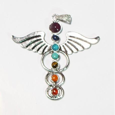 Přívěšek čakrový s kameny Nádí s křídly, Amulet andělský