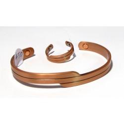 Měděný magnetický náramek + prsten