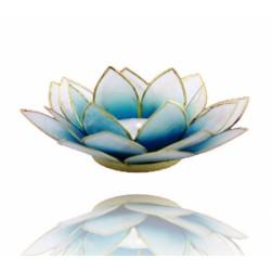 Lotos svícen Capiz modrobílý se zlatavými lemy