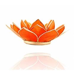 Lotos svícen Capiz oranžový se stříbřitými lemy