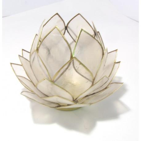 Lotosový svícen Capiz vyšší přírodně světlý se zlatavými lemy