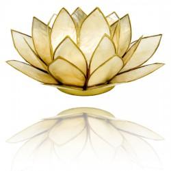 Lotos svícen Capiz béžový se zlatavými lemy