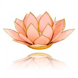 Lotos svícen Capiz pastelově růžový se zlatavými lemy