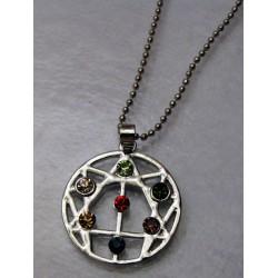Náhrdelník enneagram čakrový s kameny, postříbřený, s řetízkem