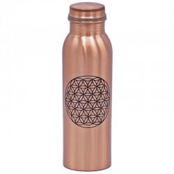 Měděná uzavíratelná lahev na vodu 0,8 litru Květ života 2