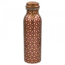 Měděná uzavíratelná lahev na vodu 0,8 litru Květ života 3
