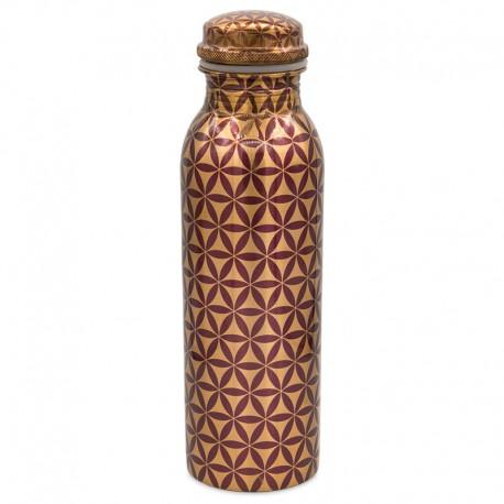 Měděná uzavíratelná lahev na vodu 0,8 litru Květ života