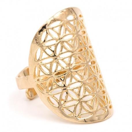 Prsten Květ života zlatavý