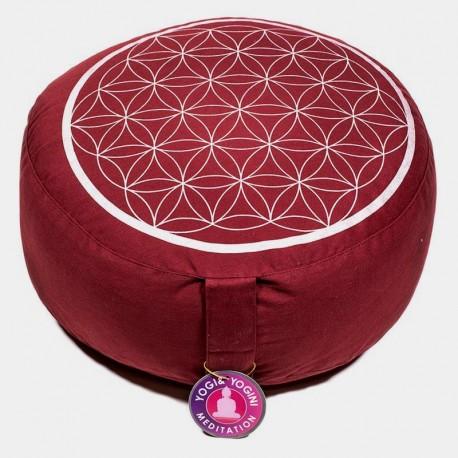 Meditační sedák polštář Květ života vínový