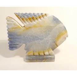 Kamenná figurka soška ONYX ryba modrá