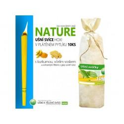 Ušní svíce HOXI NATURE - bez esenciálních olejů v plátěném pytlíku 10ks