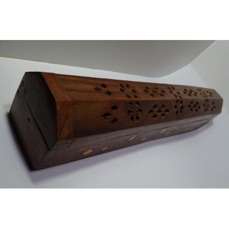 Dřevěná skříňka na vonné tyčinky / stojánek Květy