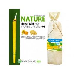 Tělové svíce HOXI NATURE - bez esenciálních olejů v plátěném pytlíku 10ks