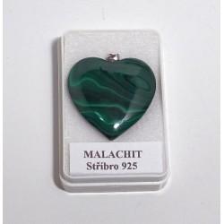 Malachit srdíčko přívěšek 32 mm