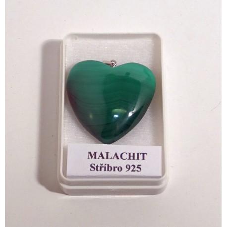 Malachit srdíčko přívěšek 32 mm 5
