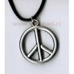 Amulet - náhrdelník PEACE (hippies) 2 na šňůrce