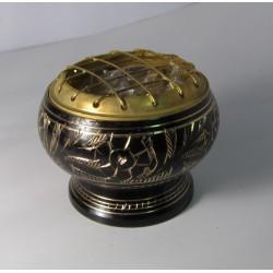 Kadidelnice - vykuřovací nádobka - s mřížkou kovová černá 6x5cm