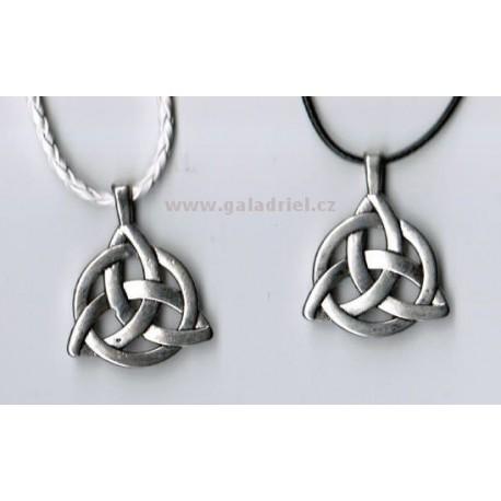 Amulet - náhrdelník triquetra - keltský uzel v kruhu na šňůrce / přívěšek