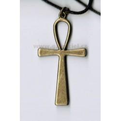 Amulet - náhrdelník ANKH - ANCH na šňůrce / přívěšek Nilský kříž Egyptský kříž života
