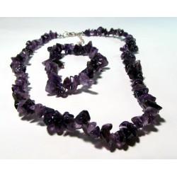 Sada náhrdelník + náramek tromlovaný Ametyst AA kvality